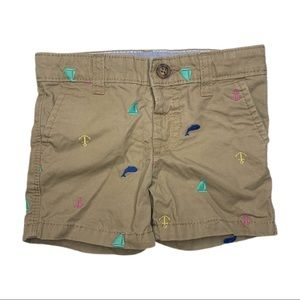 3/$15 Carter's Embroidered Nautical Shorts 6M Tan